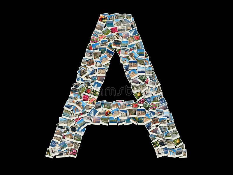 Download Shape Of Letter A Made Of Travel Photos Stock Image - Image: 22822939
