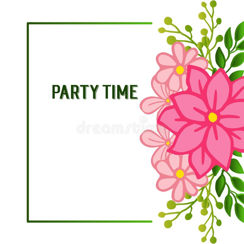 Shape pattern of frame, with ornate of unique pink flower frame, for party time poster. Vector royalty free illustration