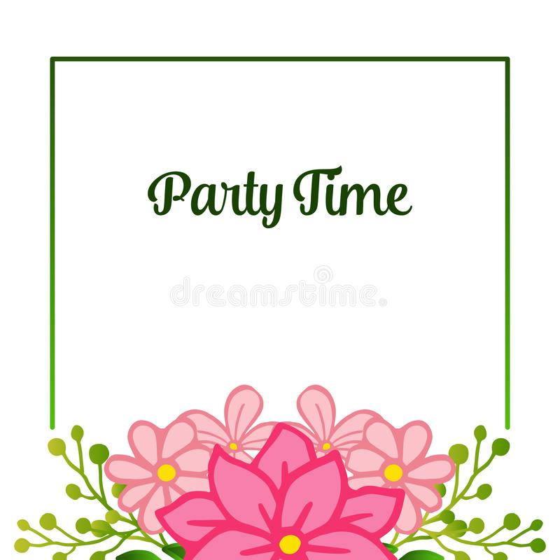 Shape pattern of frame, with ornate of unique pink flower frame, for party time poster. Vector stock illustration