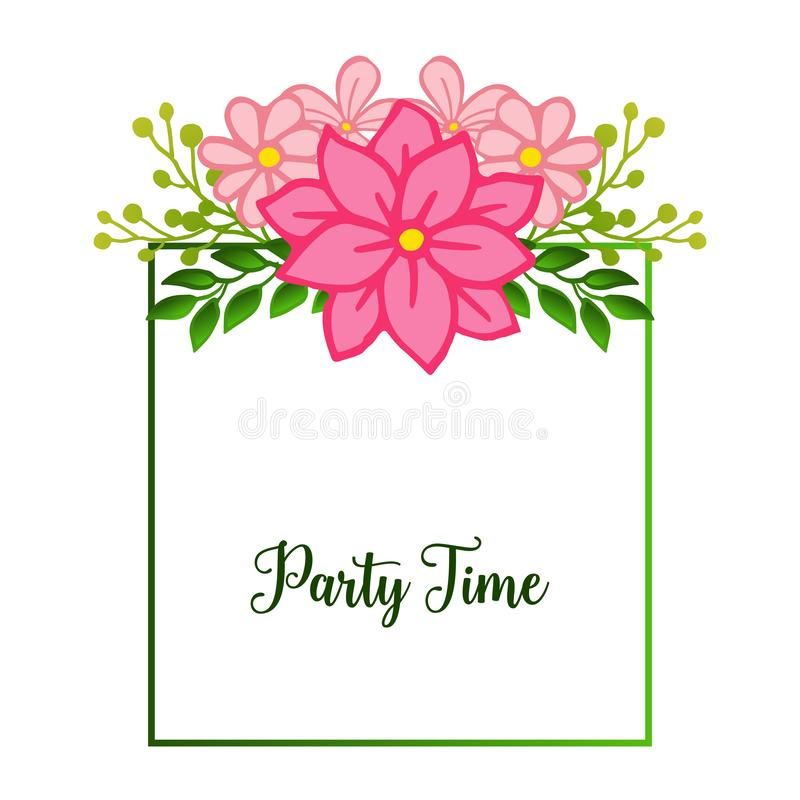 Shape pattern of frame, with ornate of unique pink flower frame, for party time poster. Vector vector illustration