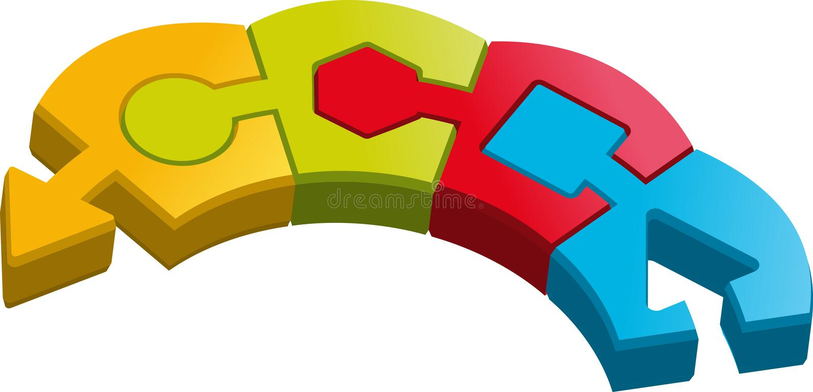 Download Shape puzzle pieces stock vector. Illustration of connecting - 19879290