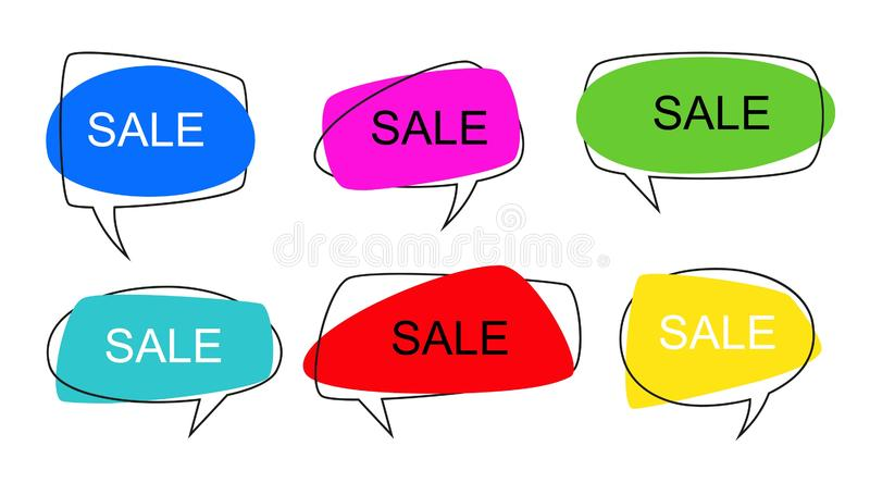Shape speech bubble. Talk pop art bubbles colorful shapes of balloon for abstract sale price sticker, retro shaping royalty free illustration