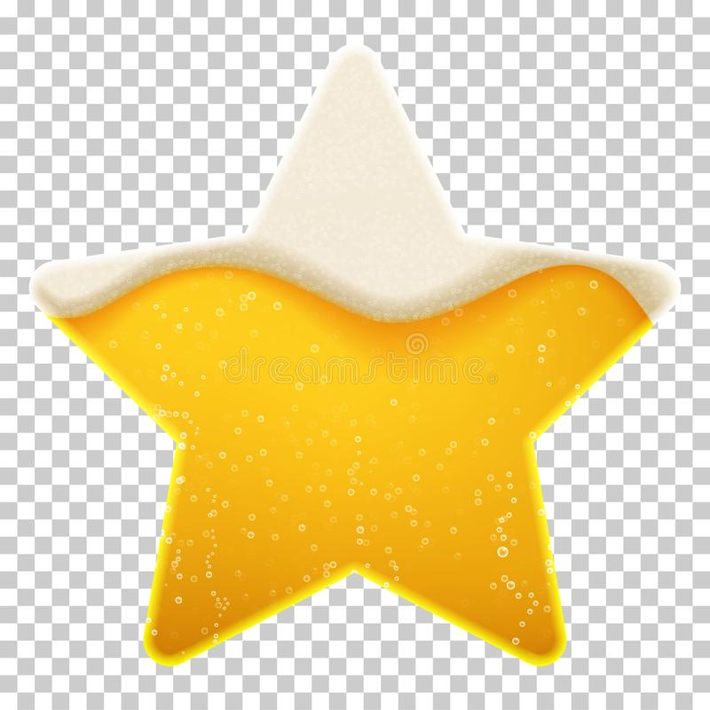 Shape of a star with beer foam and bubbles. Vector template on transparent background. EPS 10 royalty free illustration