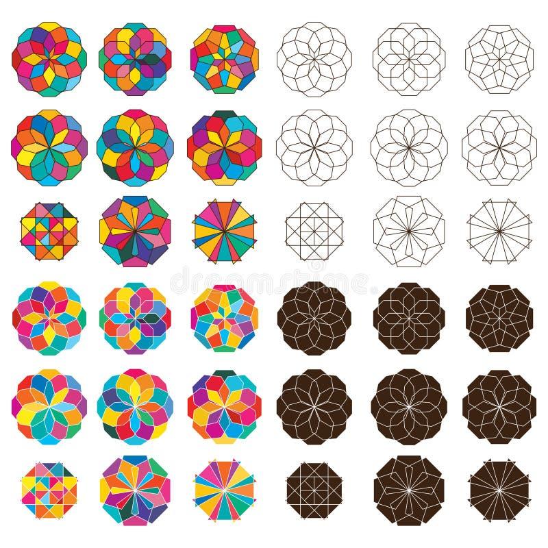 Shape style ray symmetry set. This illustration is drawing shape with style ray and symmetry in object and set royalty free illustration