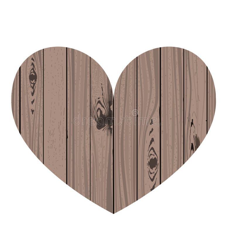 Shape of timber heart. Wood texture. Vector illustration Valentine day stock illustration