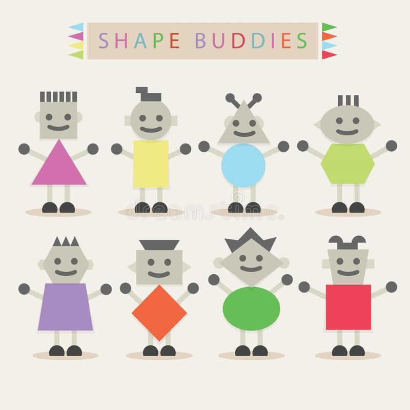 Shaped body buddies - Set of basic different cute characters royalty free illustration