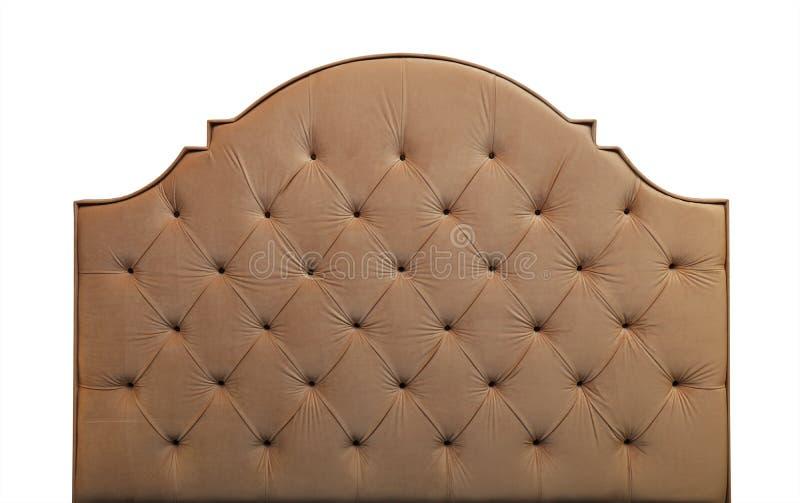 Beige velvet bed headboard isolated on white stock photos