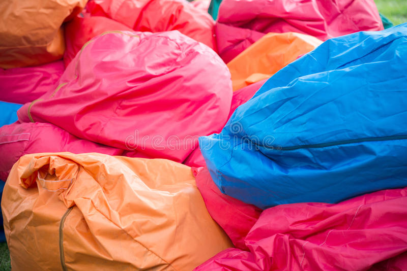 Shapeless colored Bean bag chairs royalty free stock images