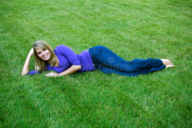 Shapely blond girl stock images