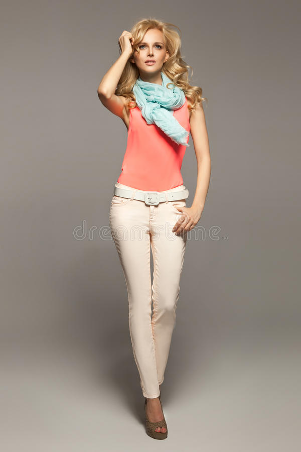 Free Shapely Blonde Girl And The Spring Collection Royalty Free Stock Images - 29777089