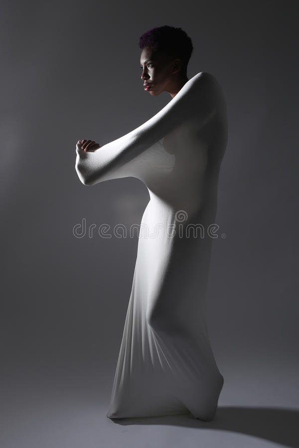 Free Shapely Woman In Creative Light And Spandex Fabric Stock Image - 41099711
