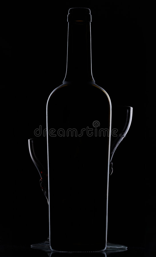 Shapes of a bottle and two glasses stock images
