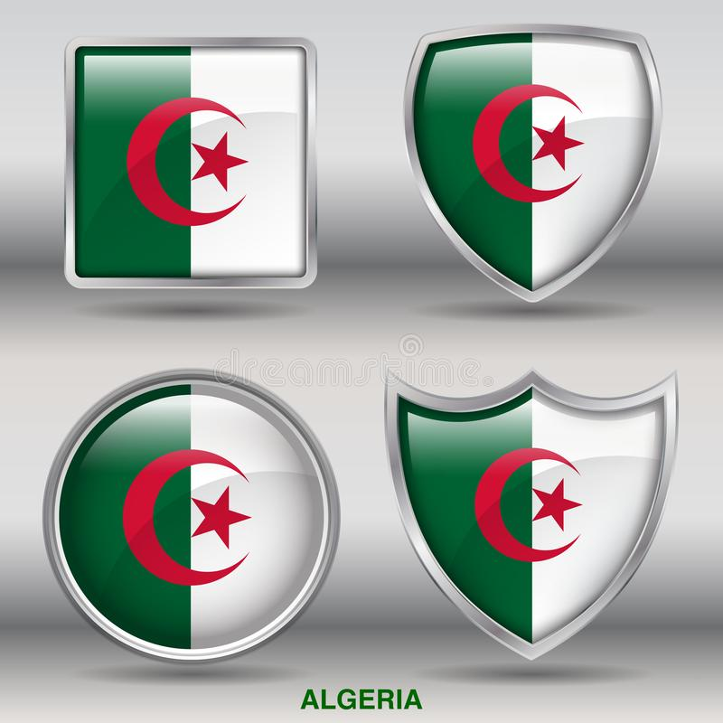 Algeria Flag in 4 shapes collection with clipping path stock photography