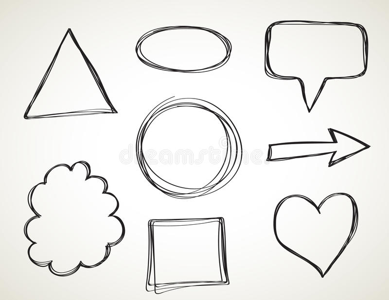 Shapes - freehand sketch royalty free illustration