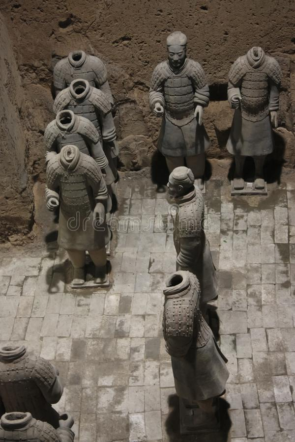 Shapes without goals. China, Xi`an: Archaeological excavations of the clay army of the emperor Qin Shi Huang. The terracotta army is a figure of ancient royalty free stock image