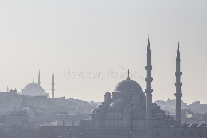 Shapes of the mosques of Sultanahmet or Blue Mosque and Eminonu in the shadow, in Istanbul, with the cupolas and minarets royalty free stock photos