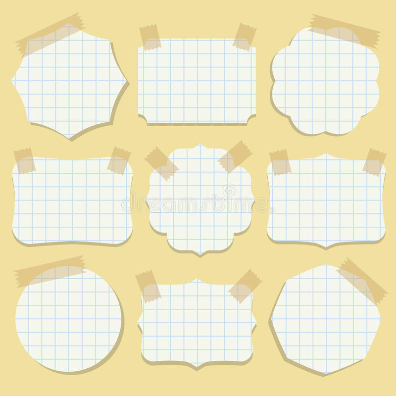 Free Shapes Of Note Paper With Tape. Royalty Free Stock Image - 40210216