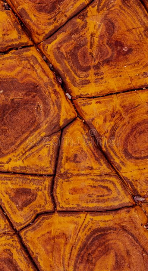 Shapes and patterns in a natural rock. Colorful shapes and patterns create an abstract texture on the surface of a rock found in a natural environment