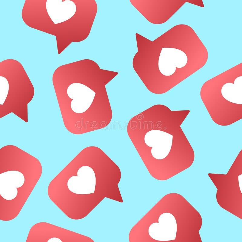 Shapet сердца любит безшовная картина Следующие, подписчики для сетей sociel иллюстрация вектора
