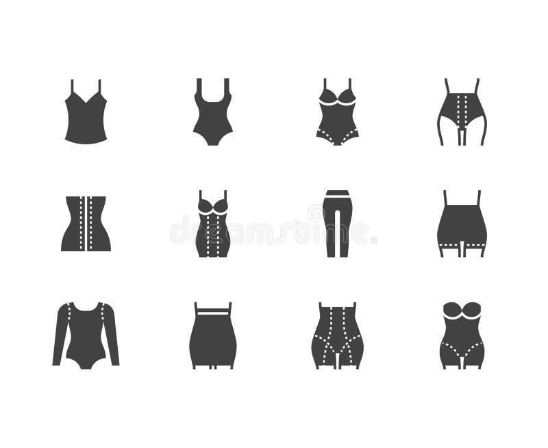 Shapewear平的纵的沟纹象集合 矫正内衣,塑造紧身衣裤,更加亭亭玉立的大腿,绑腿,腰部控制内裤 向量例证