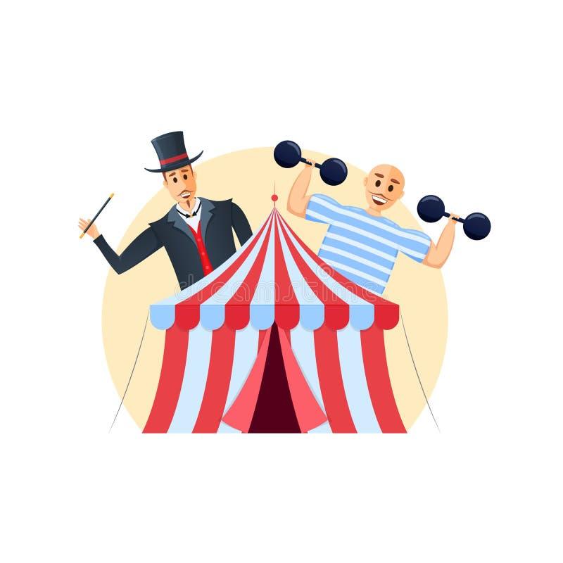 Shapito do circo Representações com mágico e homem forte, programa interessante da mostra ilustração royalty free