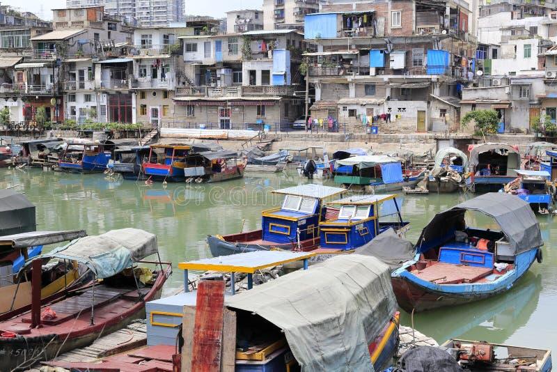 Shapowei beskyddade skeppsdockan, amoy stad arkivbilder
