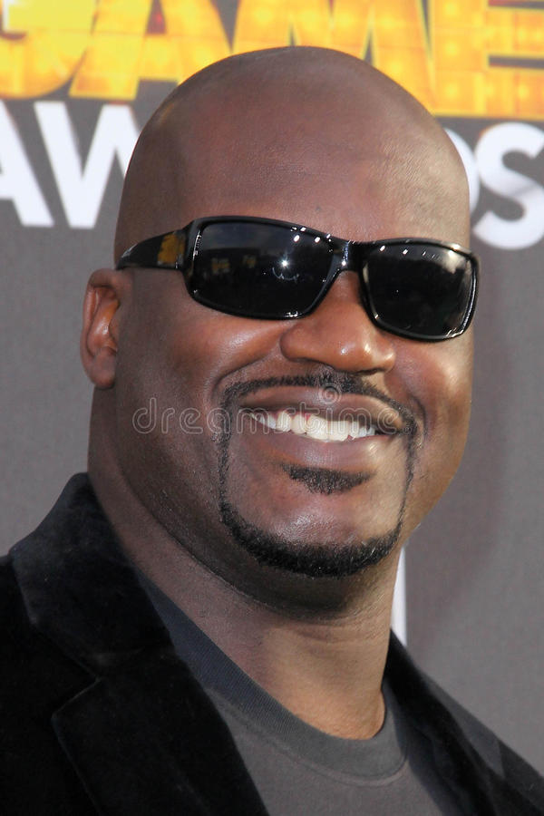Shaquille O'Neal. Shaquille O'Neal at the Cartoon Network Hall of Game Awards, Barker Hangar, Santa Monica, CA 02-18-12 stock image