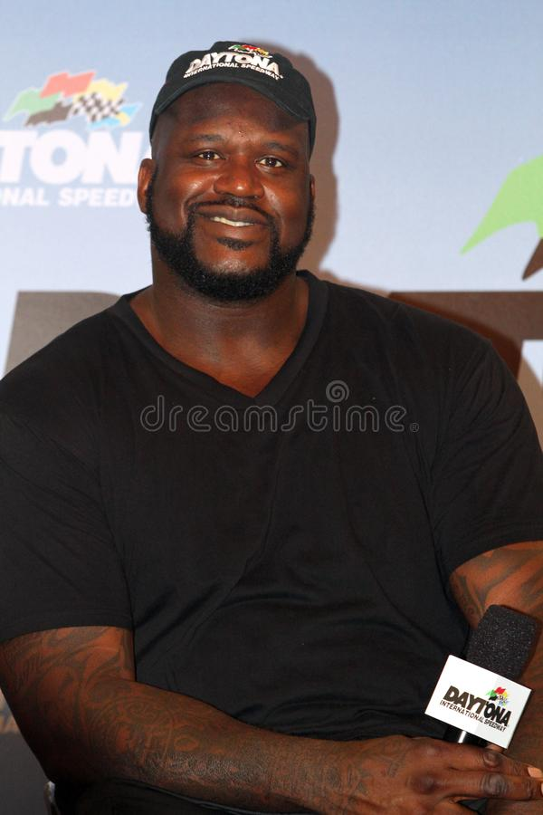 Shaquille O`Neal Attends NASCAR Coke Zero 400. Shaquille O`Neal at a pre race press conference prior to the NASCAR Sprint Cup Series Coke Zero 400, at Daytona stock image
