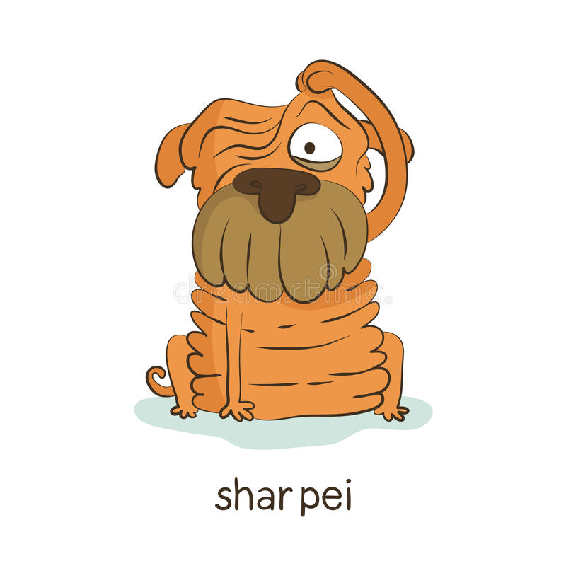 Shar Pei Carácter del perro en blanco stock de ilustración