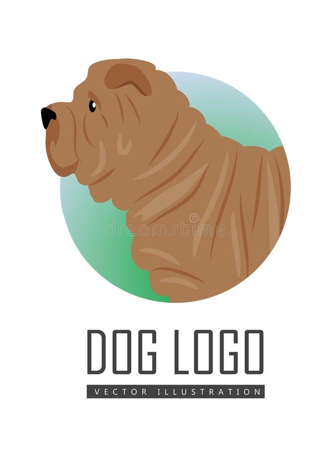 Shar Pei Dog Logo en el fondo blanco libre illustration