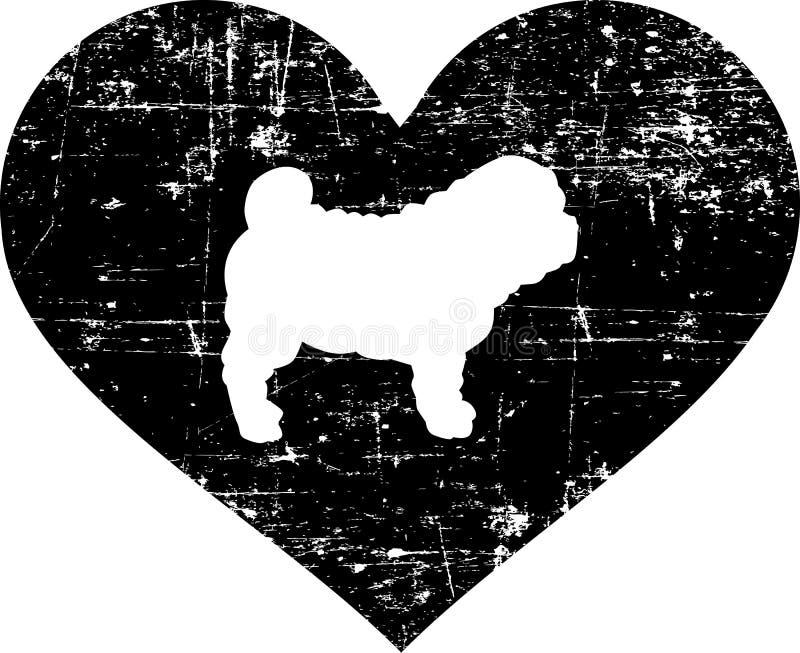 Shar Pei en el corazón blanco y negro libre illustration