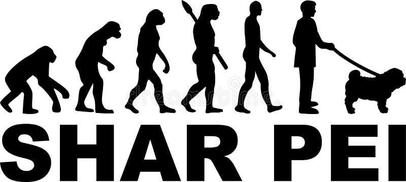 Shar Pei Evolution med namn stock illustrationer