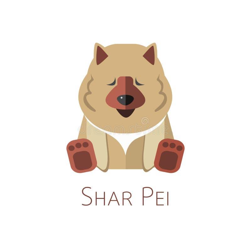 Shar Pei. Funny cartoon character stock illustration