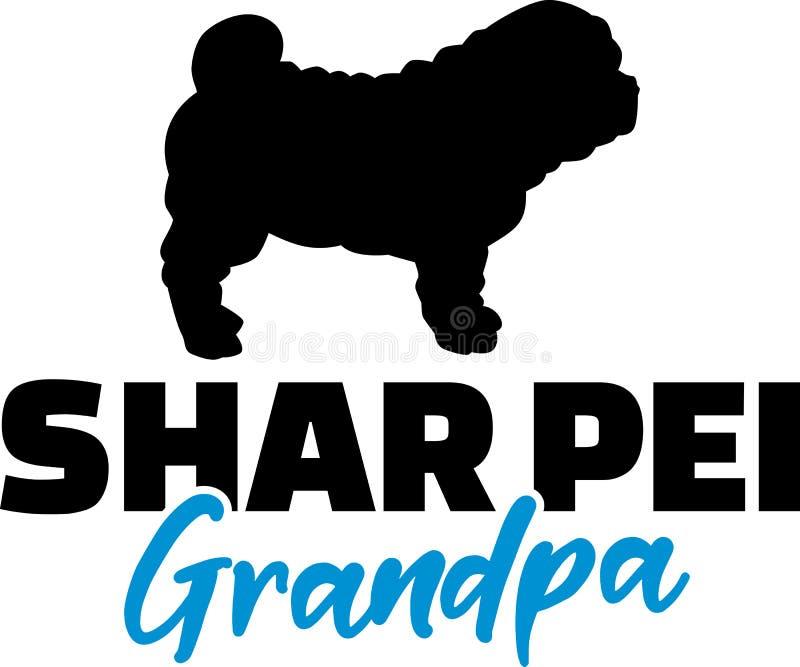Shar Pei Grandpa con la silueta stock de ilustración