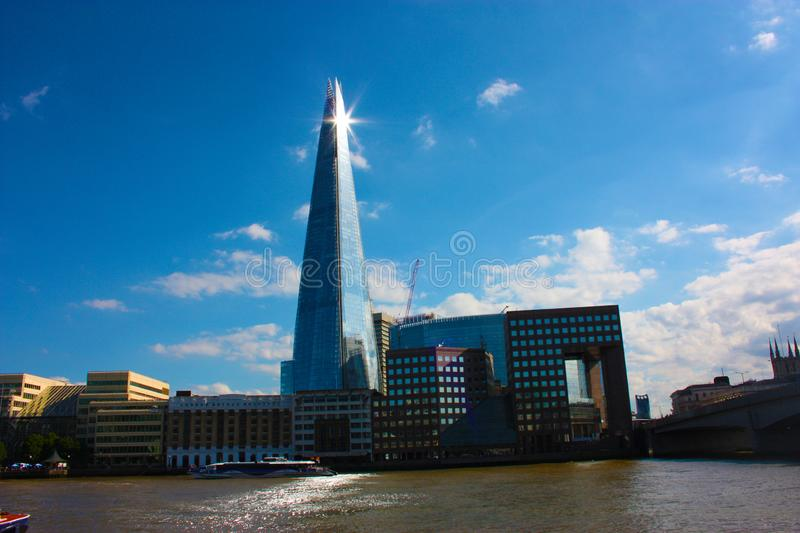 The Shard of Glass on a clear blue day in London stock image