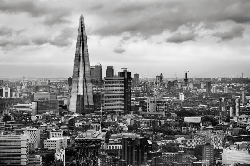 The Shard - London Skyline. A back & white picture of the iconic Shard the tallest building in the capital of England stock image