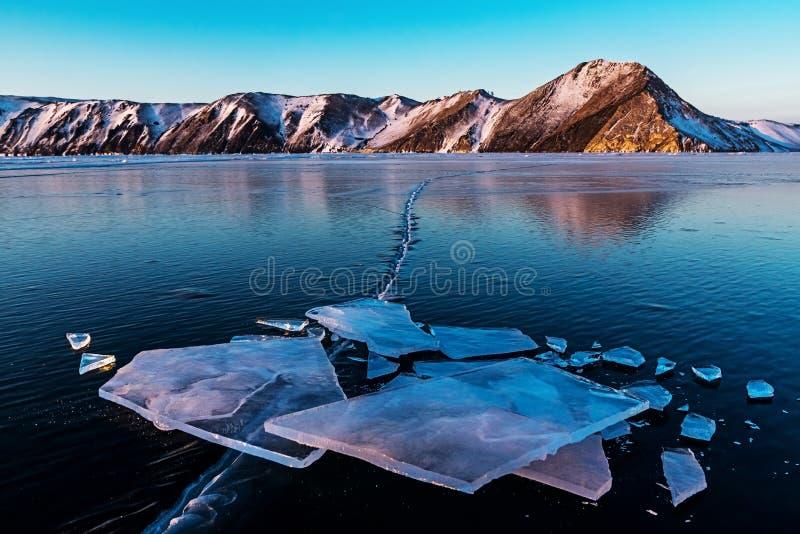 Shards of ice on the frozen surface of Lake Baikal. Ust-Anga bay stock image