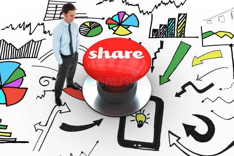 Share against digitally generated red push button. The word share and happy businessman standing with hands in pockets against digitally generated red push royalty free illustration