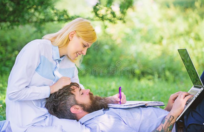 Share business responsibility. Family business roles. Couple in love or family work online business. Balance freelance stock image