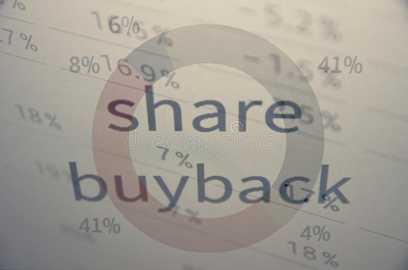 Share buyback. Is a company's buying back its shares from the marketplace stock photography