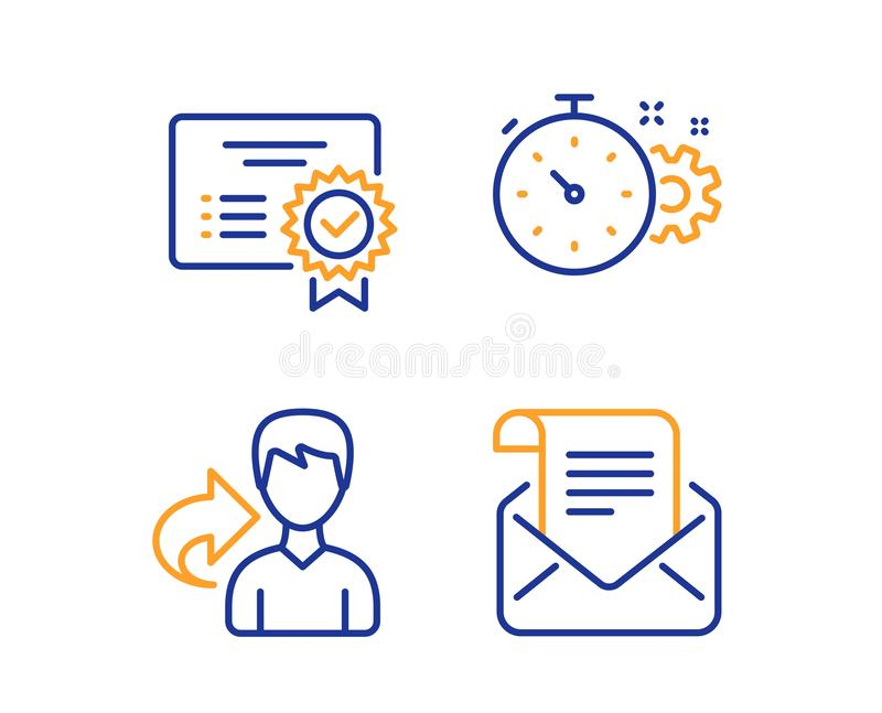 Share, Cogwheel timer and Certificate icons set. Mail newsletter sign. Vector. Share, Cogwheel timer and Certificate icons simple set. Mail newsletter sign. Male stock illustration