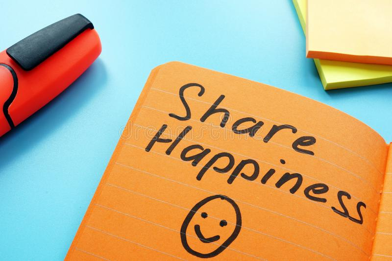 Share happiness sign as inspiration quote. stock photos