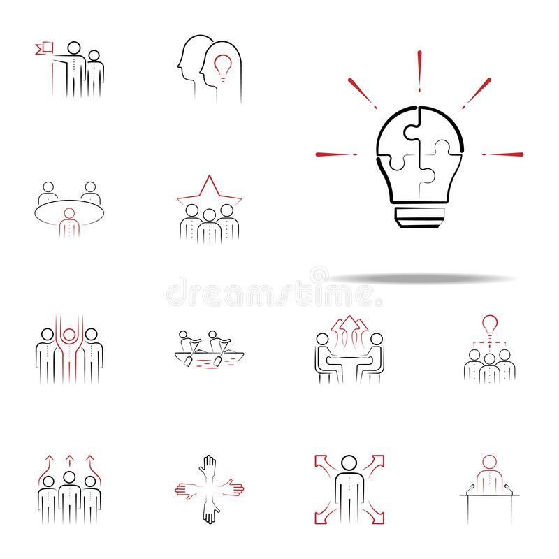 Share ideas colored hand drawn icon. Team icons universal set for web and mobile. On white background stock illustration