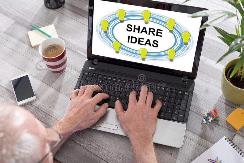 Share ideas concept on a laptop screen royalty free stock photos