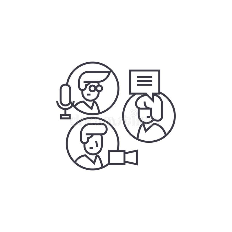 Share ideas, group chat vector line icon, sign, illustration on background, editable strokes stock illustration