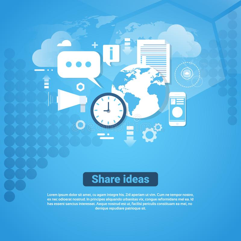 Share Ideas Template Web Banner With Copy Space vector illustration