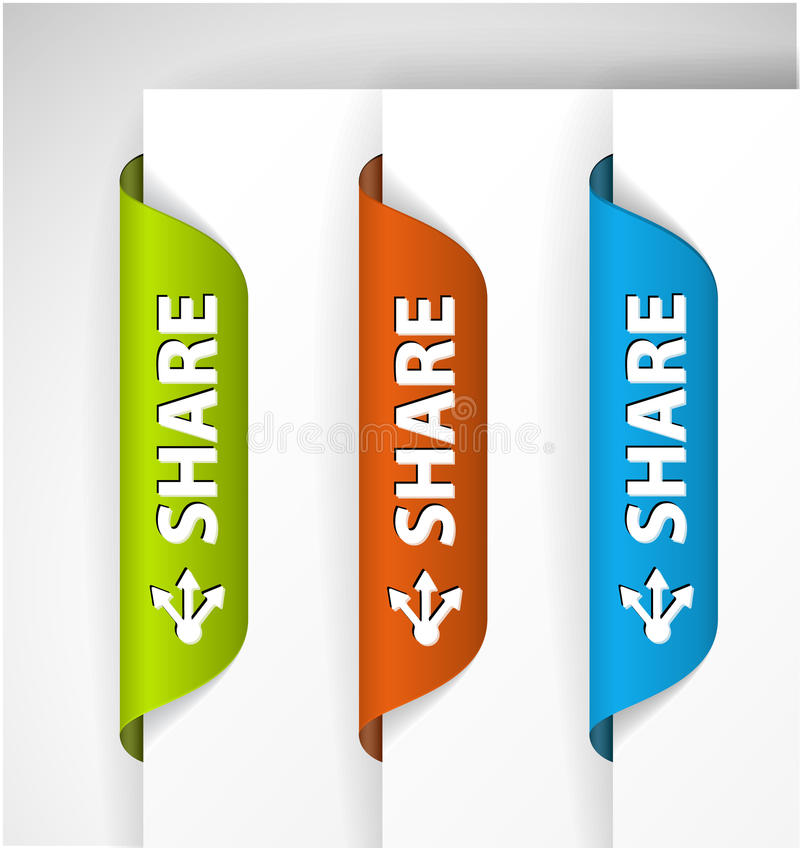 Download Share Labels / Stickers On The Edge Of The Page Stock Illustration - Image: 22641107
