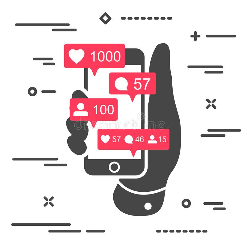 Share, like, comment, repost social media ui icons on screen of black mobile phone in hand. Pink bubble  icon set for websites, vector illustration