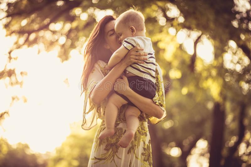Share love and tender. Mother and baby boy. royalty free stock image