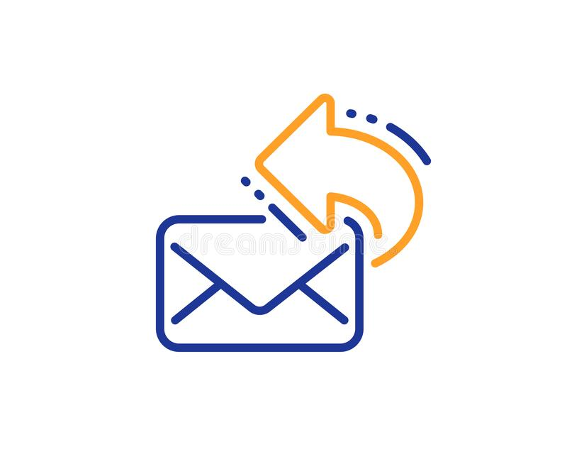 Share mail line icon. New newsletter sign. Vector. Share mail line icon. New newsletter sign. Phone E-mail symbol. Colorful outline concept. Blue and orange thin royalty free illustration
